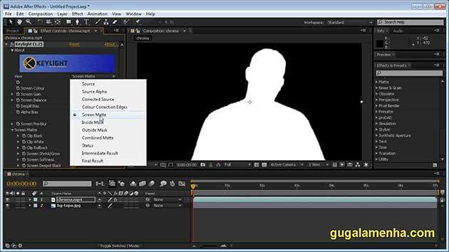 After Effects CS5 – Chroma key Usando Keylight (HD).
